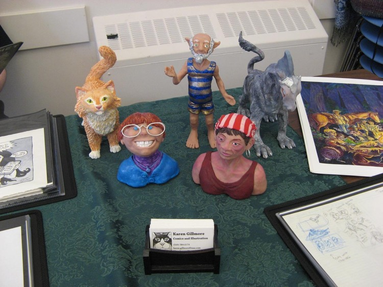 Some of the Polymer Clay Maquettes I brought to show off at my table.
