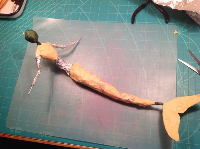 I know she doesn't look like much yet, but this is the inner soul of a mermaid maquette!