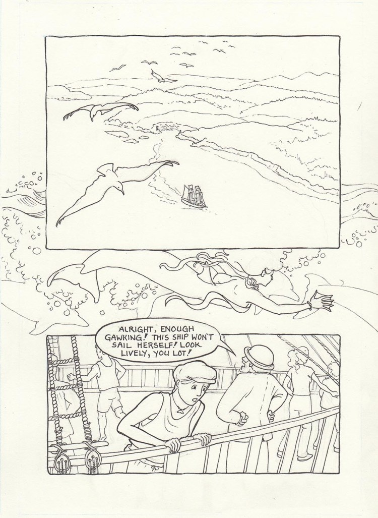 Page one of Chapter 2: Pigma Micron pens on Opus Watermedia paper. Sami is still mesmerized by what she has seen in the water!