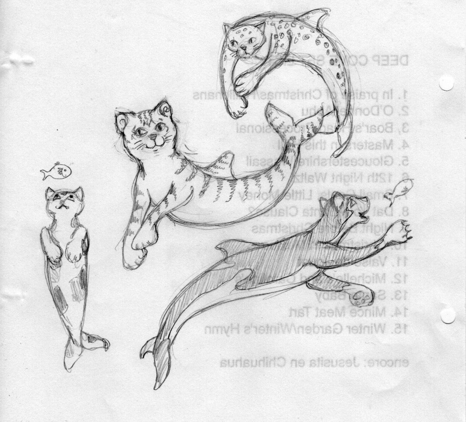 I've had cats on the brain lately; we are currently catless, and I've been drawing a LOT of them. Here's some for the mermaids.