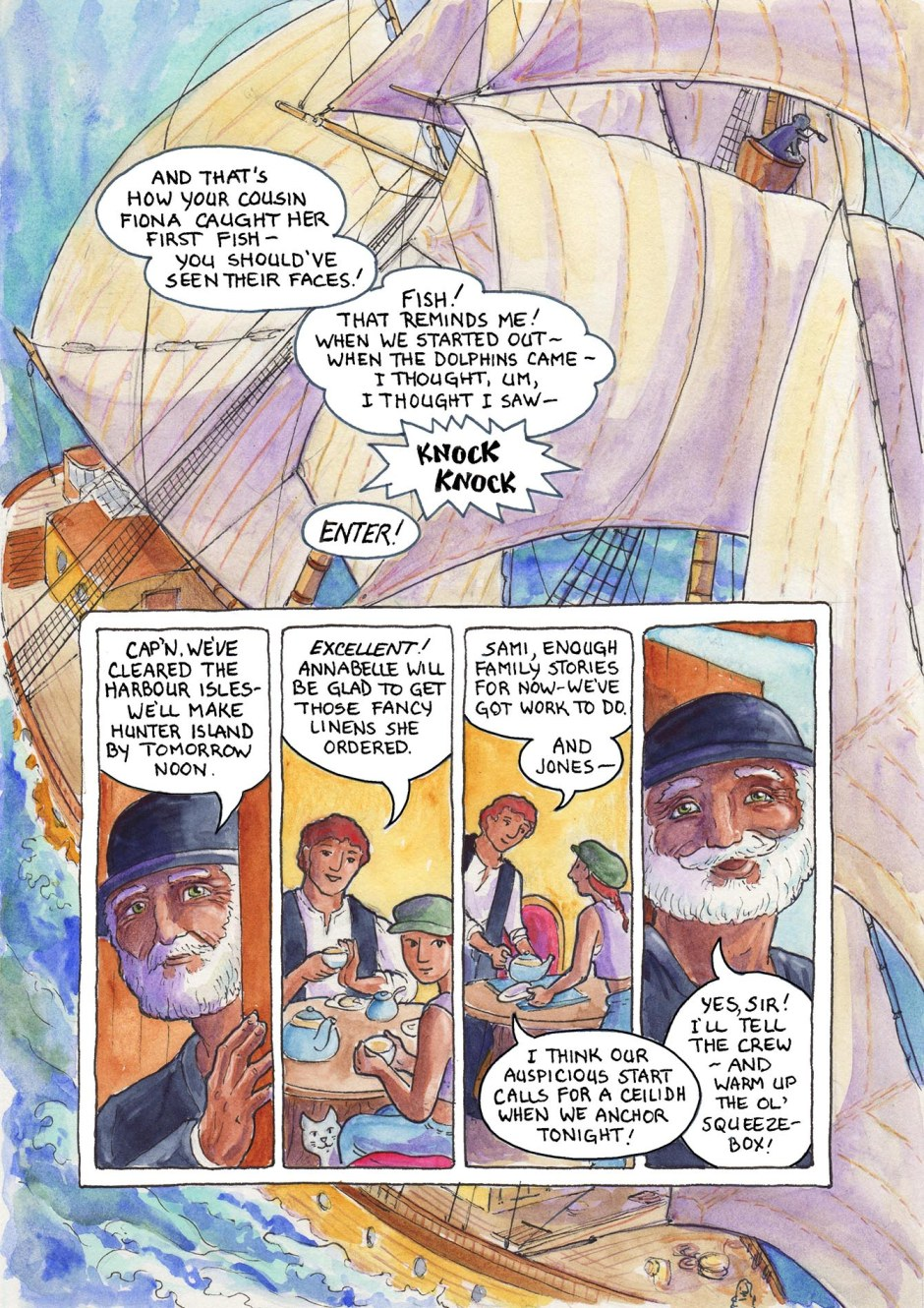 Page 56 — Sami's first day at sea, and already a party — this sailing stuff might not be so bad after all!
