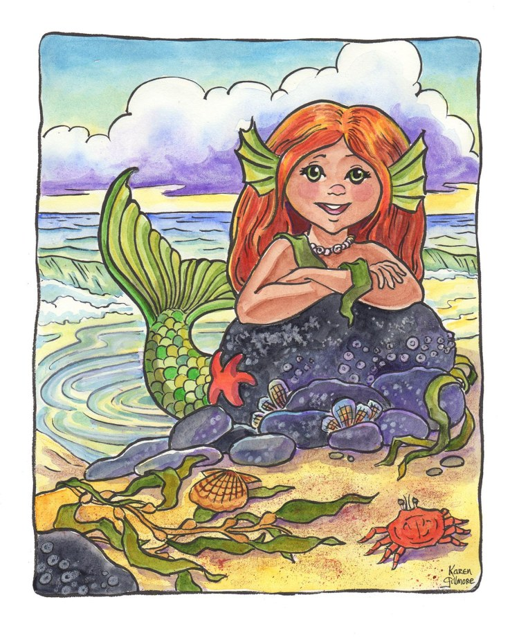 Mermaid Sprite — ink, watercolour, and coloured pencil. About 8 x 10 inches.