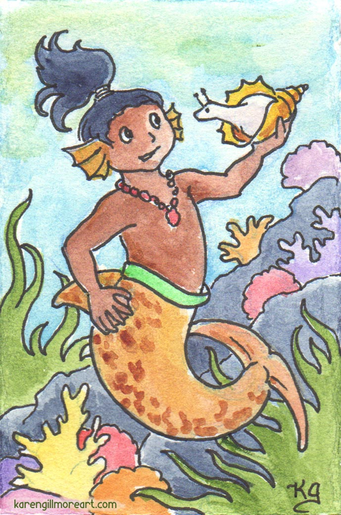 Watercolour of mer-child holding up sea-shell